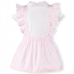 Miranda Spring Summer Baby Girls Ivory Top Pink Stripes Braces Skirt Outfit