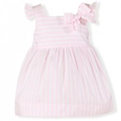Miranda Spring Summer Baby Girls Pink White Stripes Dress With Bow