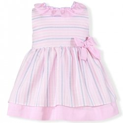 Miranda Spring Summer Baby Girls Pink White Blue Stripes Dress With Frilly Collar And Bow