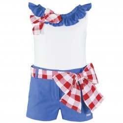 Miranda Spring Summer Girls White Top Blue Shorts Red Gingham Outfit