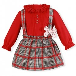Miranda Baby Girls Red Blouse Red Navy Braces Skirt Set