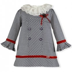 Miranda Girls Navy Jacquard Dress Ivory Collar Red Velvet Bow