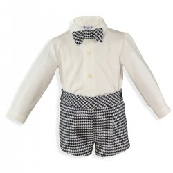 Miranda Boys Ivory Shirt Navy Jacquard Pattern Shorts Bow Tie Set