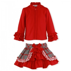 Miranda Girls Red Blouse Red Navy Jacquard Skirt Set