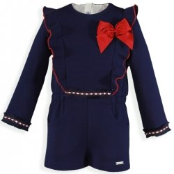 Miranda Girls Navy Frilly Playsuit Red Bow