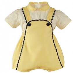 Miranda Baby Boys Ivory Lemon Yellow Dungarees Outfit