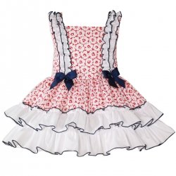 Miranda Spring Summer Girls White Red Dress Navy Bows