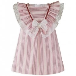 Miranda Spring Summer Girls Pink Caramel Stripes Dress Large Shawl Collar White Bow