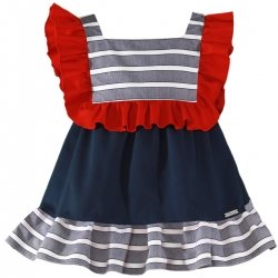 Miranda Spring Summer Girls Red Navy Stripes Dress
