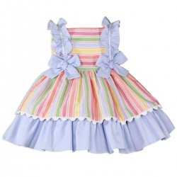 Baby Girls Multi Colours Stripes Dress Blue Bows From Miranda