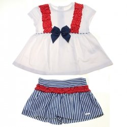 Miranda Spring Summer Girls White Top Red Frills Navy Stripes Skort Set