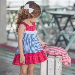 Miranda Spring Summer Girls Red Polka Dots Blue Stripes Dress