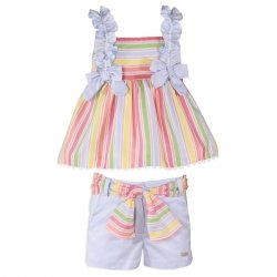 Miranda Spring Summer Girls Multi Colours Stripes Top And Shorts Set