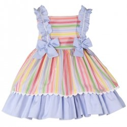 Miranda Spring Summer Girls Multi Colours Red Blue Yellow Orange Stripes Dress