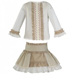 Miranda Autumn Winter Girls Caramel Off White Top And Skirt Set