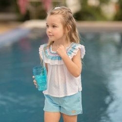 Miranda Spring Summer Girls White Top Blue Shorts Set