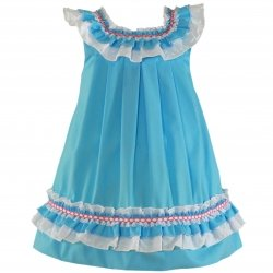 Miranda Girls Blue Dress Blue White Blue Frills Red Embroideries
