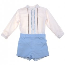 Sale Spanish MIRANDA Baby Boys Ivory Top Blue Shorts Set