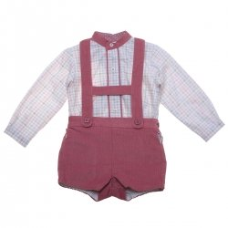 Sale Spanish MIRANDA Baby Boys Ivory Checks Top H braces Dusky Pink Shorts Set