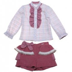 Sale Spanish Miranda Girls Dusky Pink Blouse Shorts Set