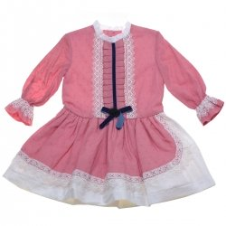 Sale Miranda Girls Dusky Pink Dress Of White Lace Navy Bow