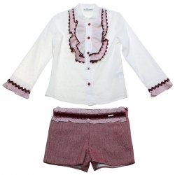 Sale Spanish Miranda Girls Ivory Blouse Red Shorts Outfit