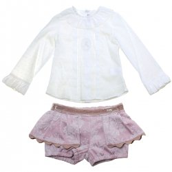 Sale Spanish Miranda Girls Ivory Blouse Pale Pink Shorts Set
