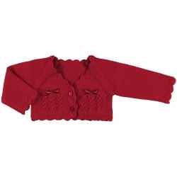 612318 Mayroral baby girls knitted red bolero