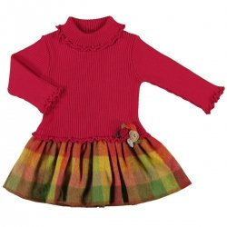SALE Mayoral Baby Girls Combined Knitted Plaid Dress
