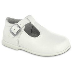 T Bar Baby White Shoes In Leather