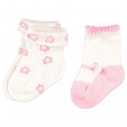 Mayroral baby girls socks ivory pink decoration