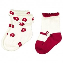 Mayroral baby girls socks ivory and red decoration