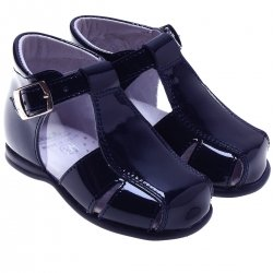 Baby Boys Navy Patent Leather Roman Sandles