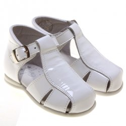 Baby Boys White Patent Leather Roman Sandles