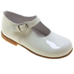 Girls Baby Ivory Patent Mary Jane Shoes Scallop Rim