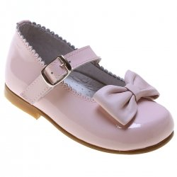 Girls Pink Mary Jane Shoes Scallop Bow Patent