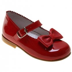 Girls Red Patent  Scallop Bow Occasion Shoes