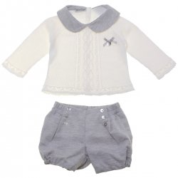 Spanish Knitted Ivory Top Grey Shorts Set