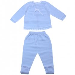 Baby Boys Blue Top And Trousers Knitted Set For Spring Summer