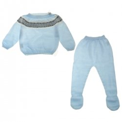 Baby Boys Knitted Blue Top And Footed Trousers Set