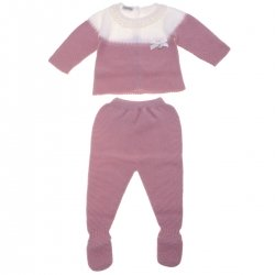 Baby Girls Knitted Dusky Pink Ivory Top And Footed Trouser Set