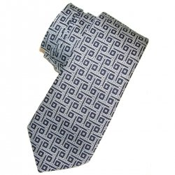 Boy tie grey with black square pattern