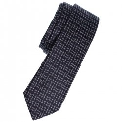 Boys tie in black with white squares and multi colour dots