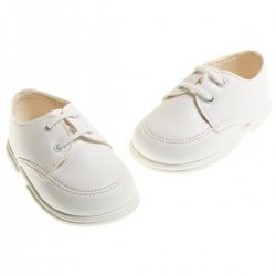 Lace up baby boys white shoes for christening and special occasions