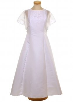 First Holy Communion Dress With Net Bolero and Bag