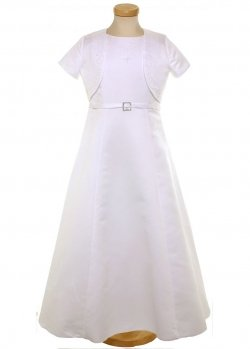 Diamante Buckle First Holy Communion Dress With Bolero And Dolly Bag