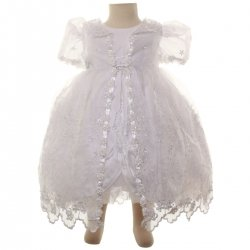 Baby Girls Christening Dress In White