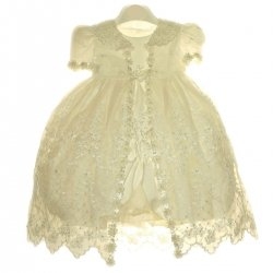 Ivory Christening Dress For Baby Girl