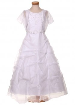 First Holy Communion Princess Dress with Net Bolero and Handbag