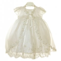 Baby Girls Ivory Christening Dress beads and sequins